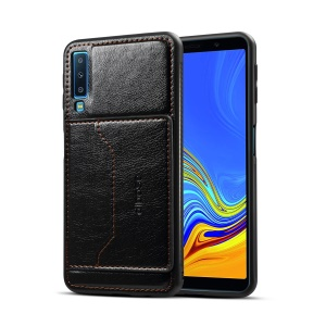 For Samsung Galaxy A7 (2018) Crazy Horse PU Leather Coated Hybrid Casing with Card Holder - Black