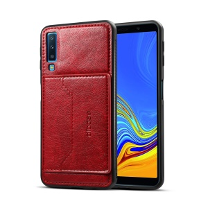 For Samsung Galaxy A7 (2018) Crazy Horse PU Leather Coated Hybrid Phone Case with Card Holder - Red