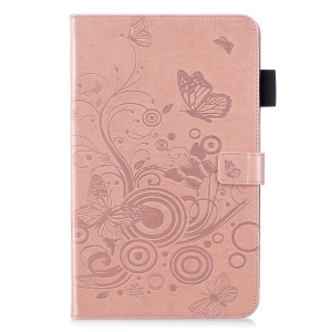 Imprinted Butterfly Leather Wallet Case for Samsung Galaxy Tab A 10.5 (2018) T590 T595 - Rose Gold
