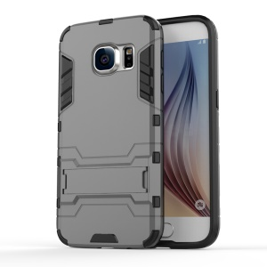 PC + TPU Hybrid Cover Case with Kickstand for Samsung Galaxy S7 G930 - Grey