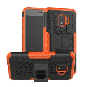 Cool Tyre Hybrid PC + TPU Phone Cover with Kickstand for Samsung Galaxy J2 Core - Orange