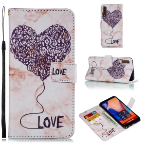 Imprinted Lover Heart Marble Pattern Stand Wallet Leather Mobile Phone Cover for Samsung Galaxy A7 (2018) - Purple