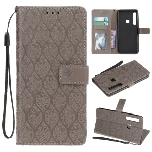 Imprint Leaf Leather Stand Phone Case for Samsung Galaxy A9 (2018) A920 / A9 Star Pro / A9s - Grey
