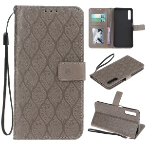 Imprint Leaf Wallet Leather Protective Case for Samsung Galaxy A7 (2018) A750 - Grey