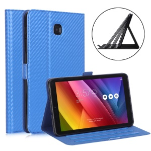 WY-1595A Carbon Fiber Texture PU Leather Stand Casing for Samsung Galaxy Tab A 8.0 (2018) SM-T387 - Blue