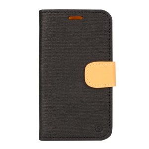 Linen Texture Leather Stand Case for Samsung Galaxy Xcover 3 SM-G388F - Black