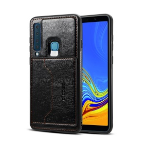 Crazy Horse Texture Leather Coated TPU Card Holder Kickstand Case for Samsung Galaxy A9 (2018) / A9 Star Pro / A9s - Black