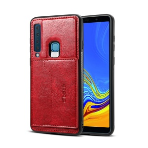 Crazy Horse Texture Leather Coated TPU Card Holder Kickstand Shell for Samsung Galaxy A9 (2018) / A9 Star Pro / A9s - Red