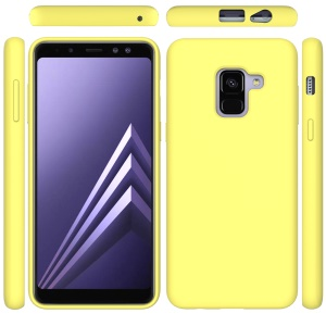 Liquid Silicone Protective Accessory Cover for Samsung Galaxy A8 (2018) - Yellow