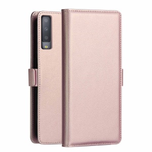 DZGOGO Milo Series Leather Stand Wallet Case for Samsung Galaxy A7 (2018) - Rose Gold