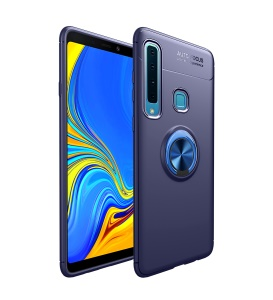 LENUO Metal Ring Kickstand TPU Case Phone Cover for Samsung Galaxy A9 (2018) / A9 Star Pro / A9s Built-in Magnetic Metal Sheet - Blue