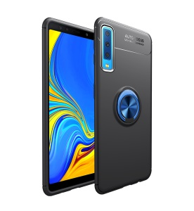 LENUO Metal Ring Kickstand TPU Case Cover for Samsung Galaxy A7 (2018) Built-in Magnetic Metal Sheet - Black / Blue