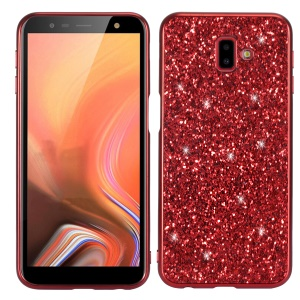Glittering Sequins Electroplating TPU PC Hybrid Phone Shell for Samsung Galaxy J6 Plus - Red