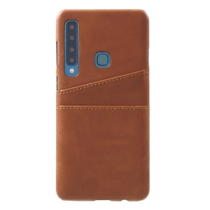 Dual Card Slots PU Leather Coated PC Hard Case for Samsung Galaxy A9 (2018)/A9 Star Pro/A9s - Coffee