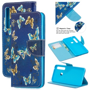 Pattern Printing PU Leather Mobile Casing with [Wallet Stand] for Samsung Galaxy A9 (2018) / A9 Star Pro / A9s - Butterflies