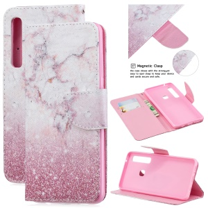 Pattern Printing PU Leather Accessory Cover with [Wallet Stand] for Samsung Galaxy A9 (2018) / A9 Star Pro / A9s - Pink Marble