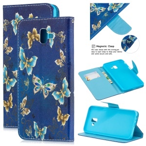 Pattern Printing Leather Wallet Case for Samsung Galaxy J6+ - Blue Butterflies