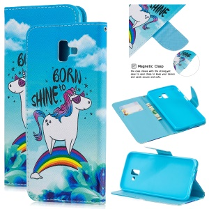 Pattern Printing Leather Wallet Cover for Samsung Galaxy J6+ - Unicorn