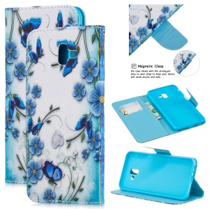 Pattern Printing Leather Wallet Shell for Samsung Galaxy J6+ - Butterfly and Flower