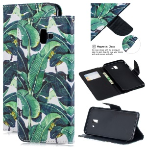 Pattern Printing Leather Wallet Cover Case for Samsung Galaxy J6+ - Leaf