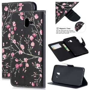 Pattern Printing Leather Wallet Phone Case for Samsung Galaxy J6+ - Vivid Flowers
