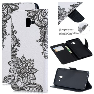 Pattern Printing Leather Wallet Cover Shell for Samsung Galaxy J6+ - Black Flower