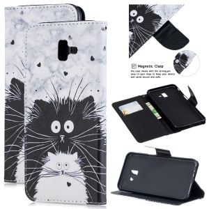 Pattern Printing Leather Wallet Stand Case for Samsung Galaxy J6+ - Black and White Cat