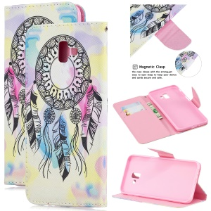 Pattern Printing Magnetic Leather Wallet Case for Samsung Galaxy J6+ - Dream Catcher
