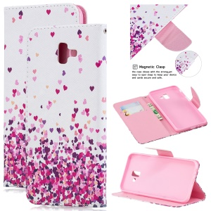 Pattern Printing Magnetic Leather Stand Cover for Samsung Galaxy J6+ - Hearts Pattern