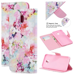 Pattern Printing Cell Phone Leather Wallet Case for Samsung Galaxy J6+ - Beautiful Flowers