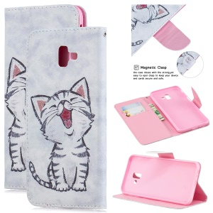 Pattern Printing Stand Leather Wallet Case for Samsung Galaxy J6+ - Cat Pattern