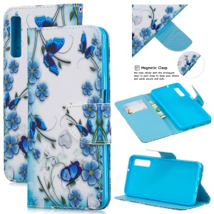 Pattern Printing Leather Wallet Case Cover for Samsung Galaxy A7 (2018) - Butterfly and Flower