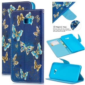 Pattern Printing Leather Wallet Case for Samsung Galaxy J4+ - Blue Butterflies