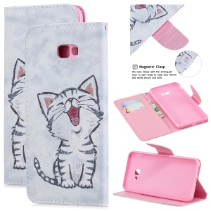 Pattern Printing Leather Stand Cover with Card Slots for Samsung Galaxy J4+ - Cat Pattern