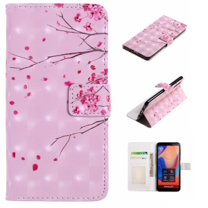 For Samsung Galaxy A7 (2018) A750 Light Spot Decor Pattern Printing Leather Stand Cellphone Shell - Peach Flowers