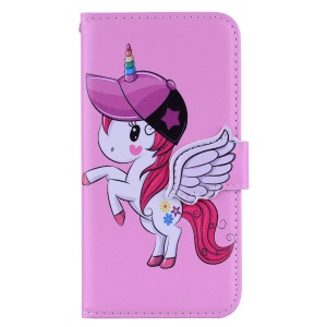 Unicorn Pattern PU Leather Cell Phone Case for Nokia 7.1 - Pink