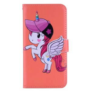 Unicorn Pattern Wallet Leather Cover with Mirror for Samsung Galaxy A7 (2018) A750 - Orange