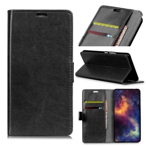 Crazy Horse Texture Wallet Stand Leather Cell Phone Case for Samsung Galaxy S10 Lite - Black