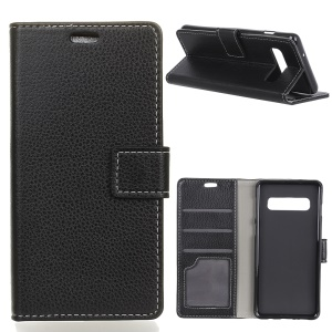 Litchi Skin Wallet Leather Stand Case for Samsung Galaxy S10 - Black