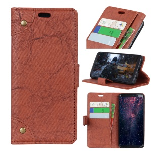 PU Leather Wallet Stand Case for Samsung Galaxy S10 - Brown