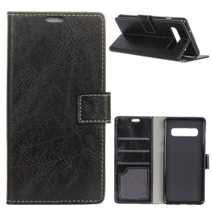 Crazy Horse Leather Wallet Case for Samsung Galaxy S10 - Black