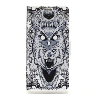 Pattern Printing PU Leather Stand Protective Shell for Samsung Galaxy S10 - Abstract Owl and Lion