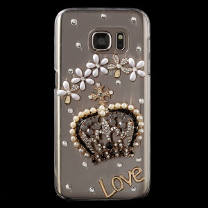 Rhinestone Crown & Flowers Clear Hard Cover for Samsung Galaxy S7 G930