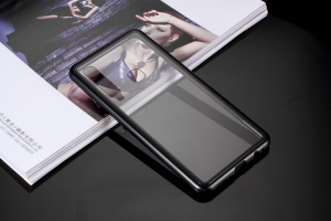 Magnetic Attraction Metal Frame Tempered Glass Case for Samsung Galaxy A9 (2018) / A9 Star Pro / A9s - Black