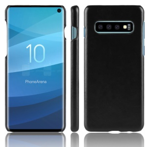 Litchi Skin Leather Coated Hard PC Case for Samsung Galaxy S10 - Black