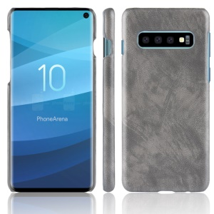 Litchi Skin Leather Coated Hard Shell Case for Samsung Galaxy S10 - Grey