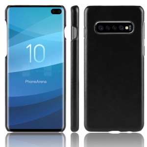 Litchi Skin Leather Coated Hard PC Case for Samsung Galaxy S10 Plus - Black