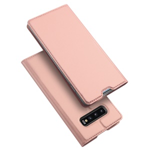 Coque De Support En Cuir DUX DUCIS Skin Pro Series Pour Samsung Galaxy S10 - Or Rose