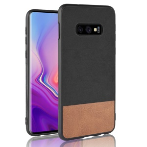 Bi-color Splicing PU Leather Coated PC + TPU Combo Phone Shell for Samsung Galaxy S10 Lite - Black