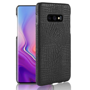 Crocodile Texture PU Leather Coated PC Hard Case for Samsung Galaxy S10e - Black
